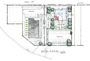 Hand-drawn representation of the project site plan, with the footprint of United Human Services' Community Services Center and the Glory Hall buildings
